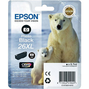 Epson Original T26 XL PHOTO Black Claria Inkjet Cartridge (Polar Bear)