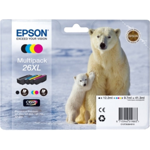 Epson Original T26 XL Multipack Claria Inkjet Cartridges B/C/M/Y (Polar Bear)