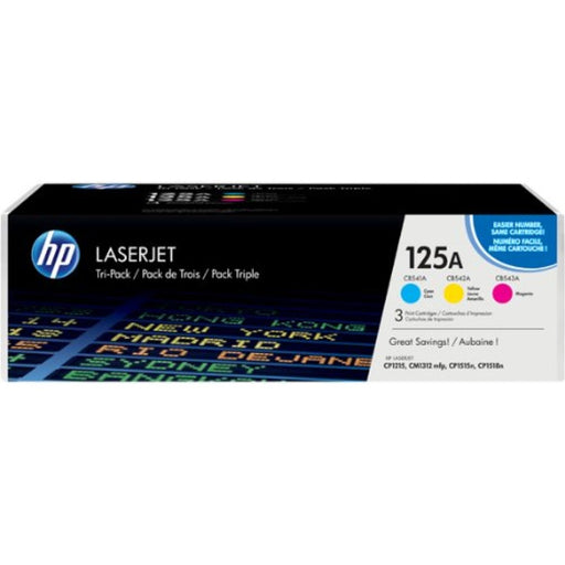 Original HP 125A Colour 3-Pack Laserjet Toner Cartridges CF373AM - Cashback available!