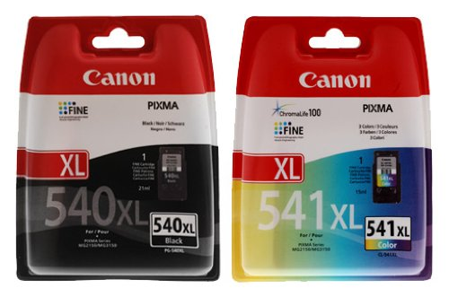 Canon PG-540 XL & CL-541XL Printer Ink Cartridges Combo Pack