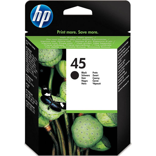 HP 45 Black Original Ink Cartridge Page Yield 490 (P/N 51645GE)
