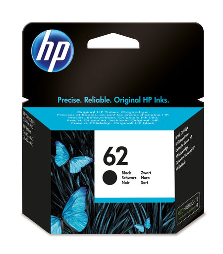HP 62 Black Original Ink Cartridge Page Yield 200 (P/N C2P04AE)