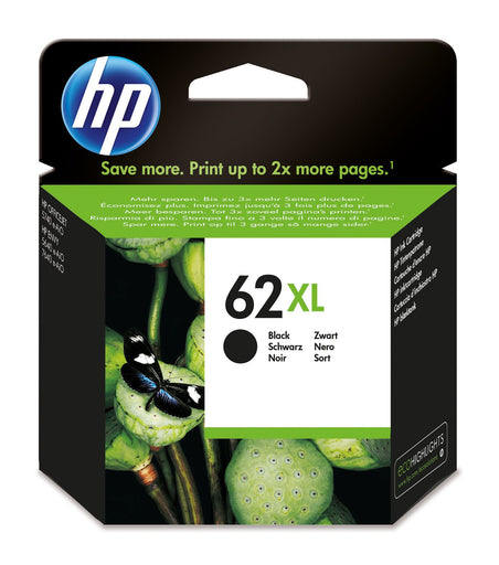 HP 62XL High Yield Black Original Ink Cartridge Page Yield 600 (P/N C2P05AE)