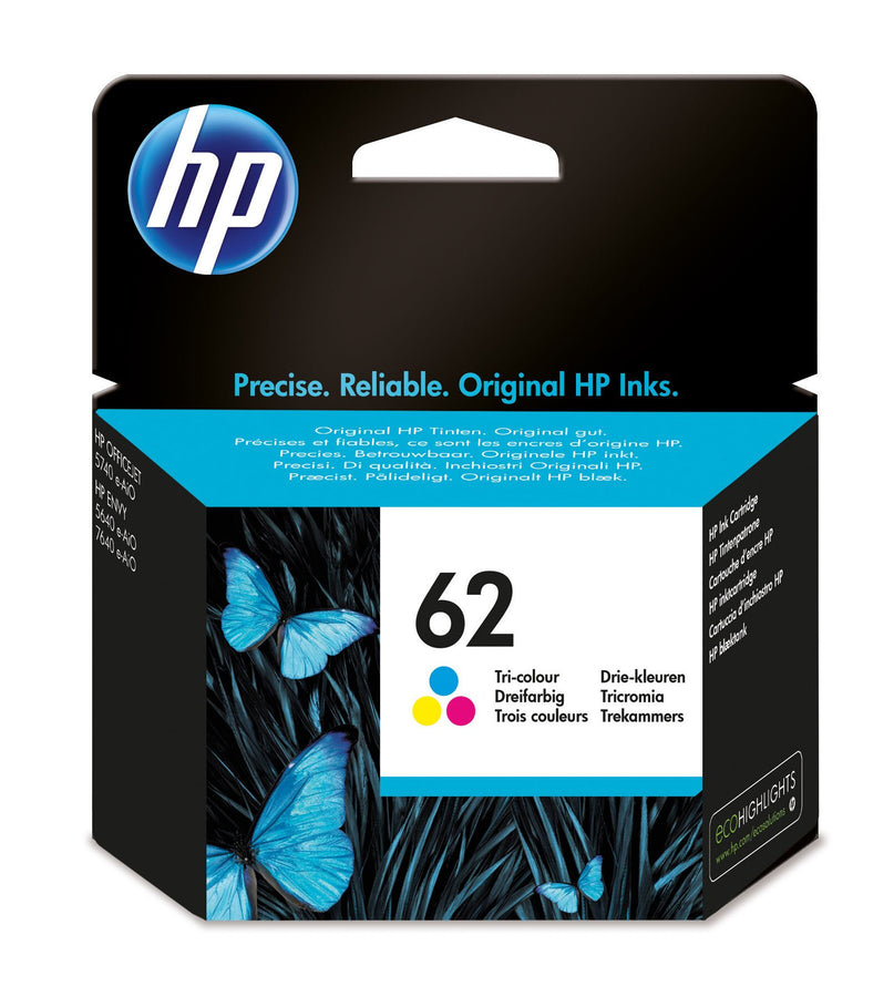 HP 62 Tri-colour Original Ink Cartridge Page Yield 165 (P/N C2P06AE)