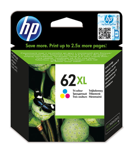 HP 62XL High Yield Tri-colour Original Ink Cartridge Page Yield 415 (C2P07AE)