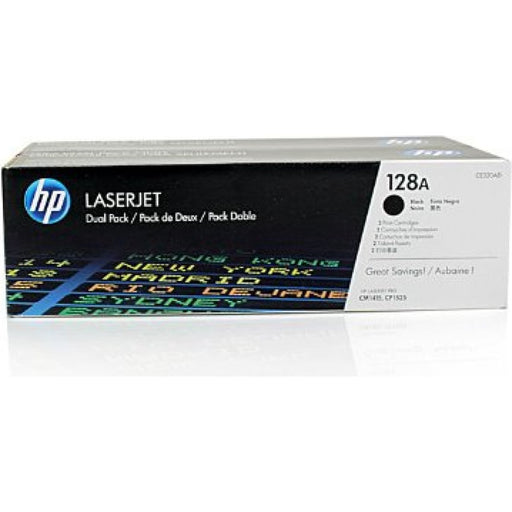 HP 128A 2-pack Black Original LaserJet Toner Cartridges Page Yield 2000 (CE320AD)