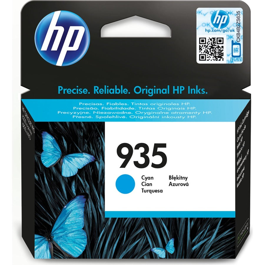 HP 935 Standard Capacity Cyan Original Ink Cartridge Page Yield 400 (P/N C2P20AE)