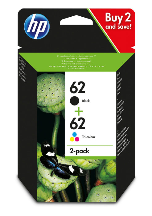 HP 62 2-Pack Black/Tri-colour Original Ink Cartridge Combo Pack Page Yield B 200/Tri 165 (N9J71AE)