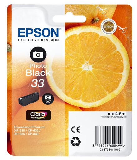 Epson Original Photo Black T33 Claria Premium Ink Cartridge