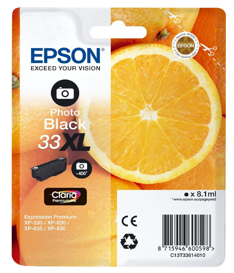 Epson Original Photo Black T33 XL Claria Premium Ink Cartridge