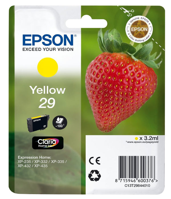 Epson Original Yellow T29 Std Claria Premium Ink Cartridge