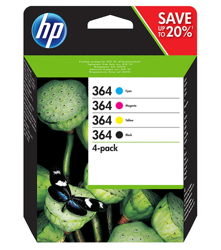 HP 364 4-Pack  Black and Colour Original Ink Combo Pack Page Yield B 250/C 300/M 300/Y 300 (N9J73AE)