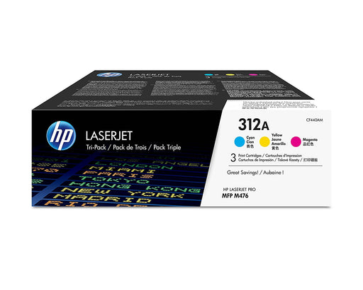 HP Original 312A 3-Pack Cyan, Magenta, Yellow Toner Pack - Cashback Available