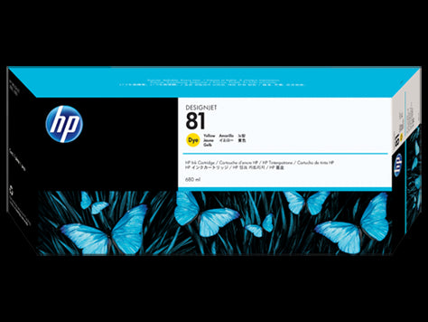 HP 81 680-ml Yellow DesignJet Dye Ink Cartridge