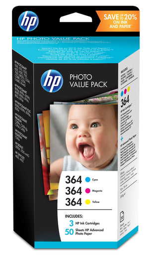 HP 364 3-Ink Value Combo Pack including 3 inks & 50 sheets 4x6 Photo Paper Page Yield 300 (P/N T9D88EE)