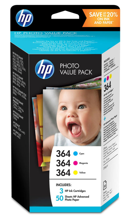 HP 364 3-Ink Value Combo Pack including 3 inks & 50 sheets 4x6 Photo Paper