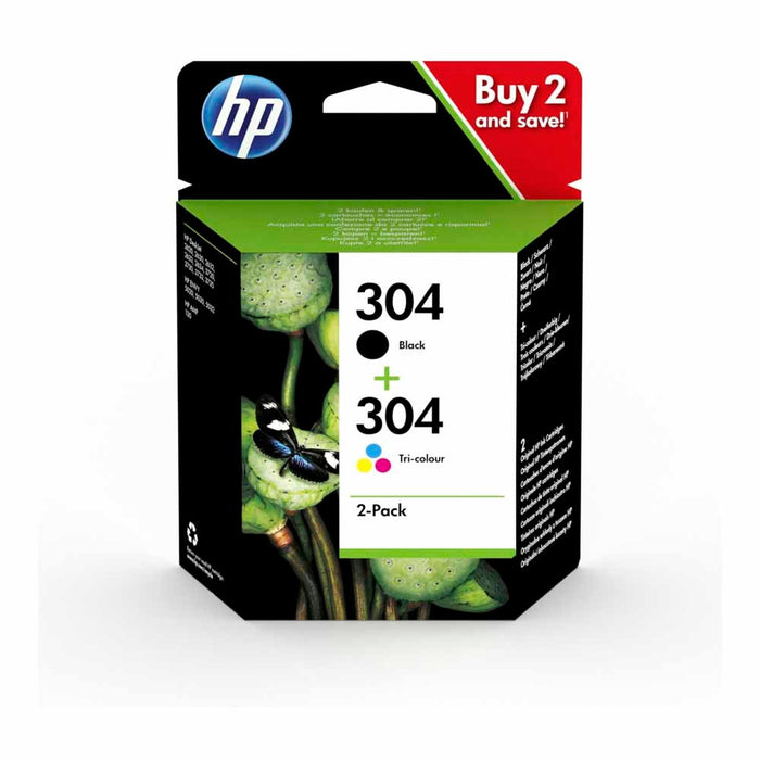 HP 304 2-pack Black/Tri-colour Original Ink Cartridges Combo pack Page Yield B 120/Tri 100 (3JB05AE)