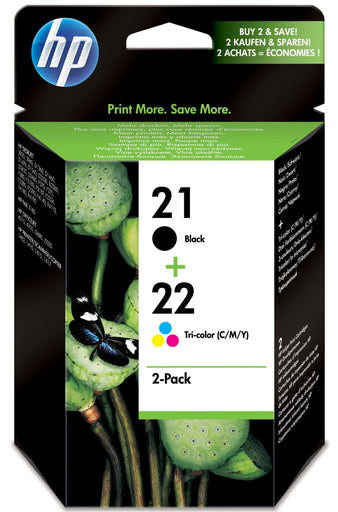 HP 21 Black/ HP 22 Tri-colour 2-pack Original Ink Cartridges Page Yield B 190/Tri 165 (SD367AE)