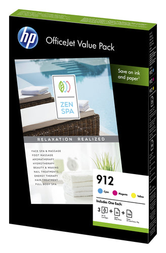 HP 912 3-Ink Value Combo Pack Page Yield  825 (6JR41AE)
