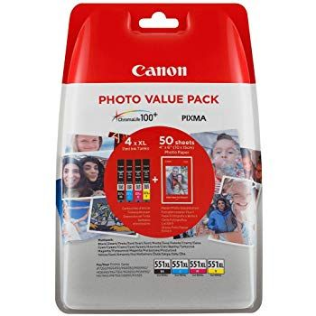 Canon CLI-551XL Printer Ink cartridges BK/C/M/Y Photo Value Pack