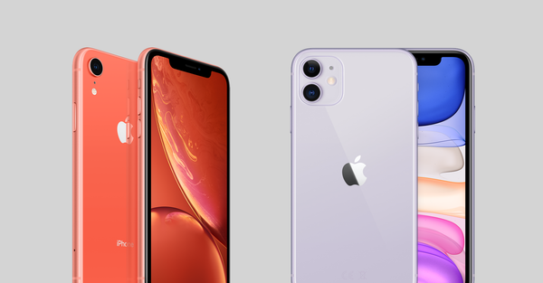 iPhone XR in coral and iPhone 11 in lilac