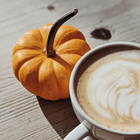 Halloween pumpkin and coffee