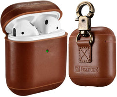 ICARER's Premium Leather Vintage Cover with Keychain for Apple AirPods 1 & 2
