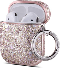 ULAK Pink Glitter Luxury Sparkle Protective Apple AirPods 1 & 2 Case