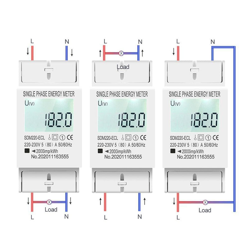 80A Din rail Single Phase Two Wire LCD Digital Display Power Consumption Energy Electric Meter kWh AC 220V 230V 50Hz/60Hz