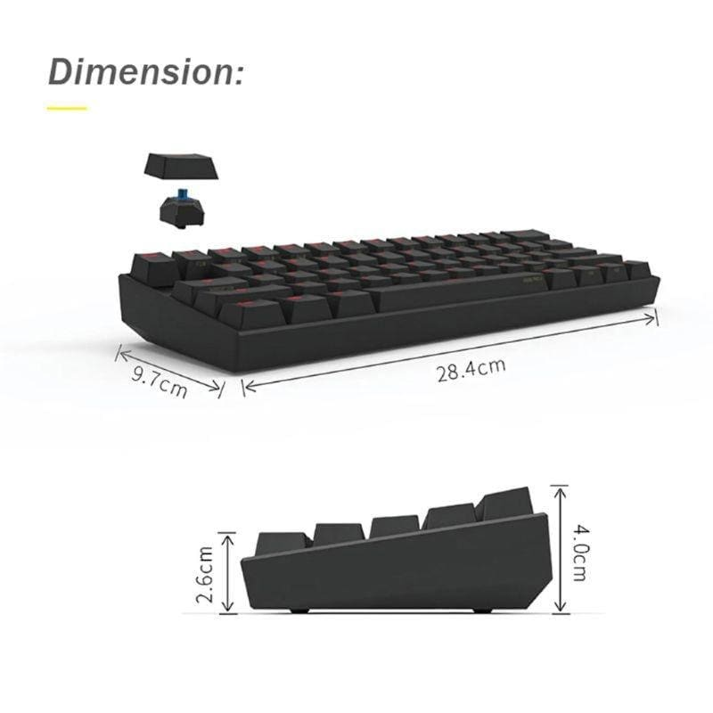 Anne Pro2 Pro 2 RGB 61 Keys Mechanical Gaming Keyboard 60% Bluetooth 4.0 Type-C Cherry and Gateron Switch