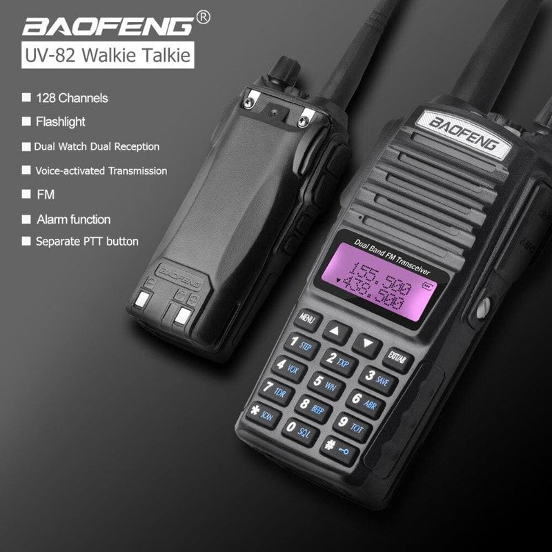 Baofeng uv-82 walkie talkie dual ptt uv 82 portable two way radio vhf uhf ham cb radio station 1pcs uv82 hunting transceiver - on sale