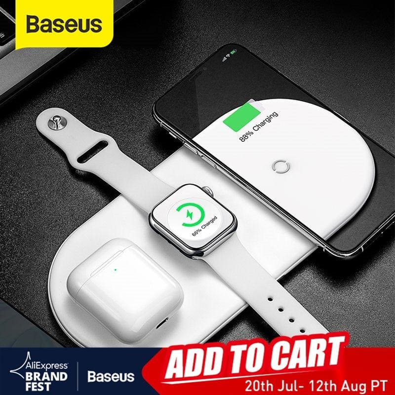 Baseus Wireless Charger For iPhone 11Pro XR XS MAX Fast Wireless Full load 3 in 1 Charging Pad For Apple Watch 5 4 3 For Airpods