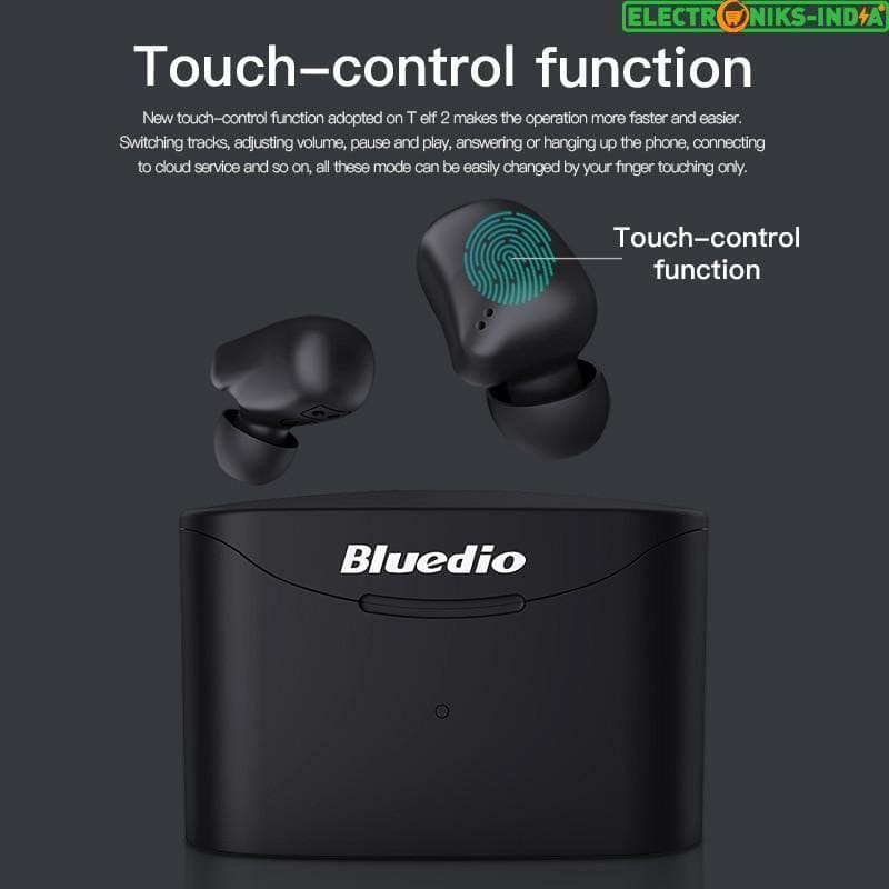 Bluedio t-elf 2 bluetooth earphone tws wireless earbuds waterproof sports headset wireless earphone in ear with charging box (black) - on