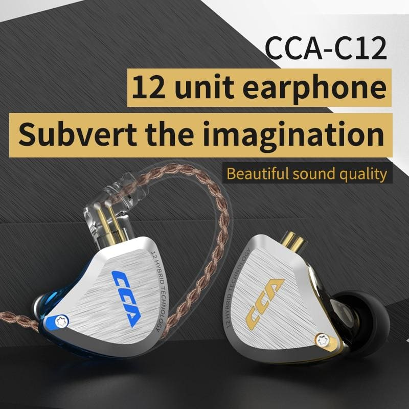 New CCA C12  Metal Headset 5BA+1DD Hybrid 12Units HIFI Bass Earbuds In Ear Monitor Headphones Noise Cancelling Earphones KZ E10