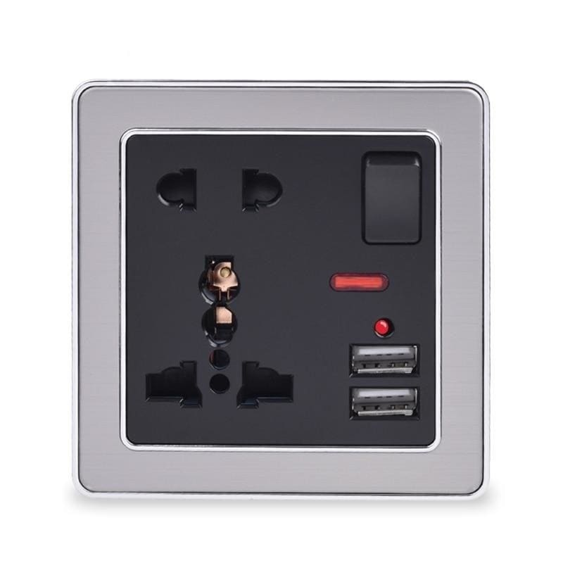 Coswall 5 Hole Switched 13A Universal Wall Socket With Neon 2.1A Dual USB Charger Port LED indicator Black Stainless Steel Frame