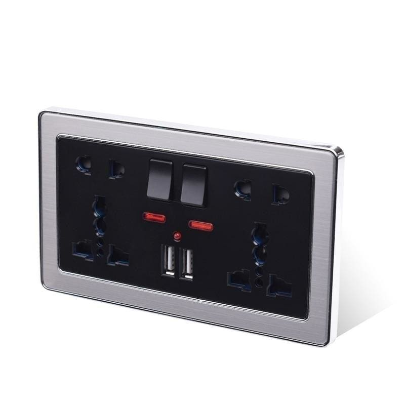 Coswall 5 Hole Switched Double Universal Wall Socket With Neon 2.1A Dual USB Charger Port Stainless Steel Frame Black Outlet