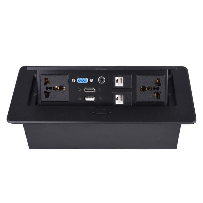 COSWALL POP UP Hidden 2 Metal Body Slow Power Universal Socket Table Outlet Dual CAT6 RJ45 Port + HDMI + USB + VGA + 3.5mm Audio