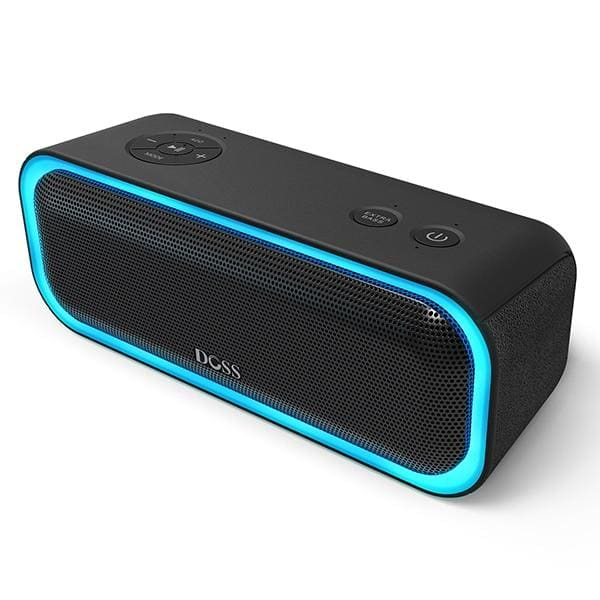 DOSS SoundBox Pro TWS Wireless Bluetooth Speaker 2*10 Drivers with Flashing LED Light Enhanced Bass Stereo Sound IPX5 Waterproof