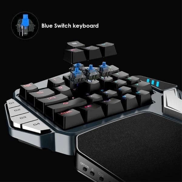 GameSir Z1 Single Hand Gaming RGB Blacklight Mechanical Keyboard Battle Dock Consoles FPS Games for Mobile Legends PC