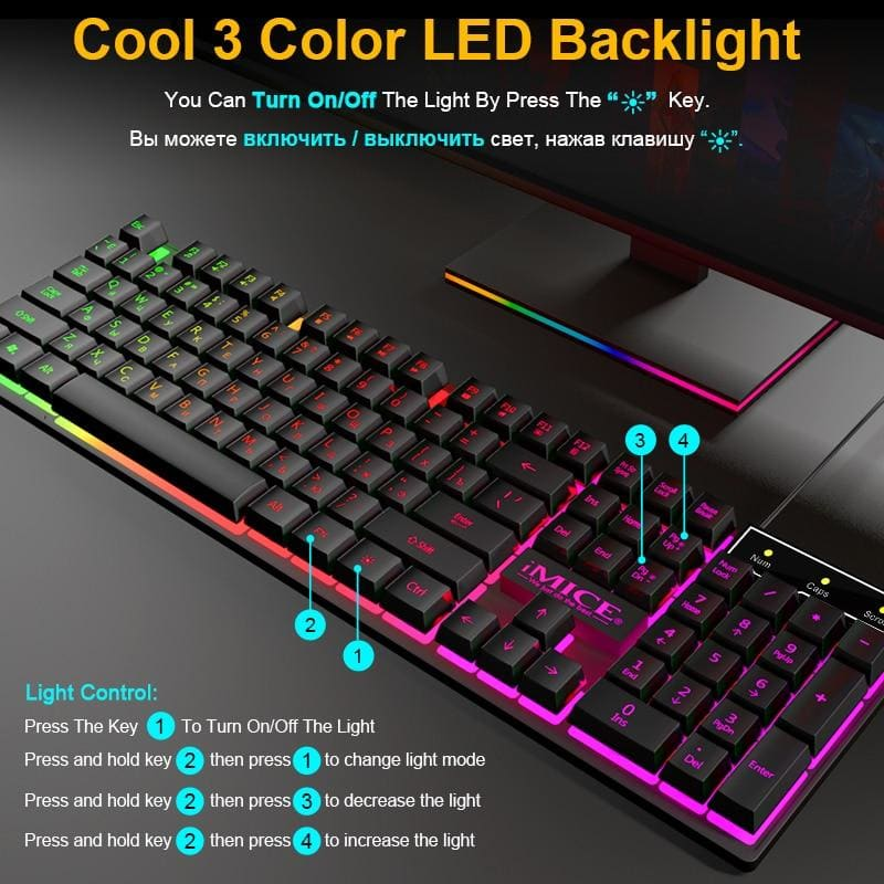 Gaming Keyboard and Mouse Imitation Mechanical Keyboard with backlight Russia Gamer Keyboard 5500dpi Silent Mouse for PC Laptop