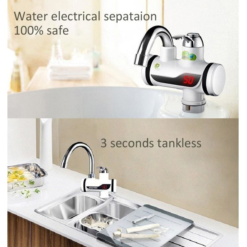KBAYBO 3000W Temperature Display Instant Hot Water Tap Tankless Electric Faucet Kitchen Instant Hot Faucet Water Heater Water Heating
