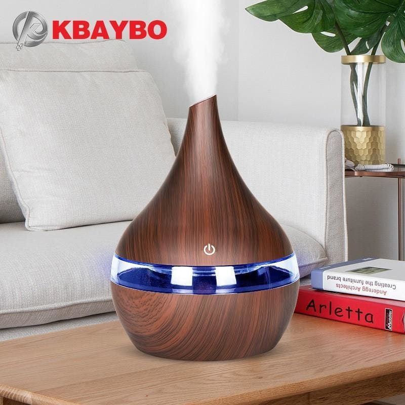 Kbaybo 300ml usb electric aroma air diffuser wood grain ultrasonic air humidifier cool mist maker with 7 colors lights for home - on sale