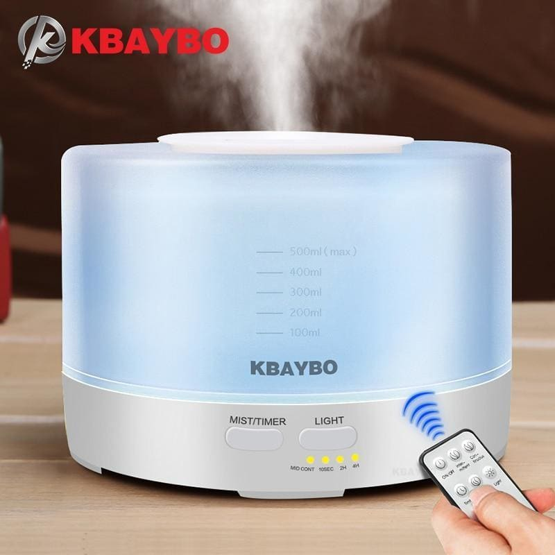 Kbaybo 400 to 500ml remote control ultrasonic air aroma humidifier 7 color led light electric aromatherapy essential oil aroma diffuser - on