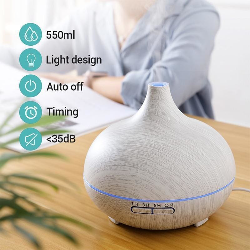 Kbaybo 550ml ultrasonic electric air humidifier aroma oil diffuser white wood grain remote control 7 colors led lights for home - on sale