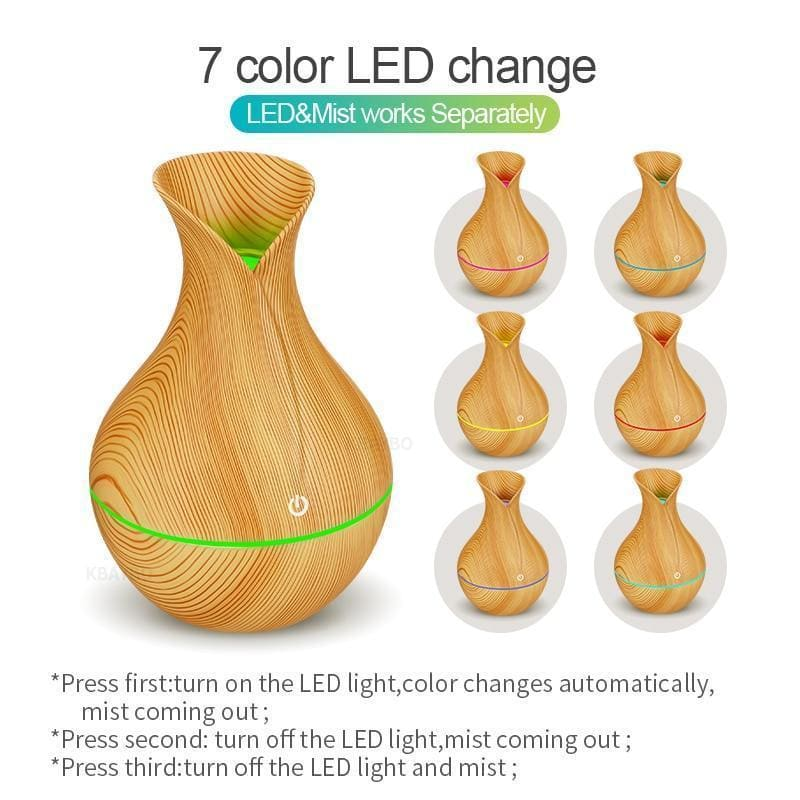 Kbaybo electric humidifier aroma oil diffuser ultrasonic wood grain air humidifier usb mini mist maker led light for home office - on sale