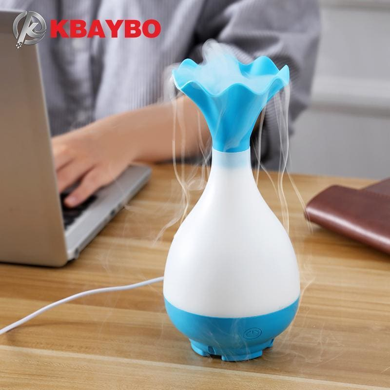 Kbaybo usb air humidifier ultrasonic aromatherapy essential oil aroma diffuser with led night light mist purifier atomizer for home - on