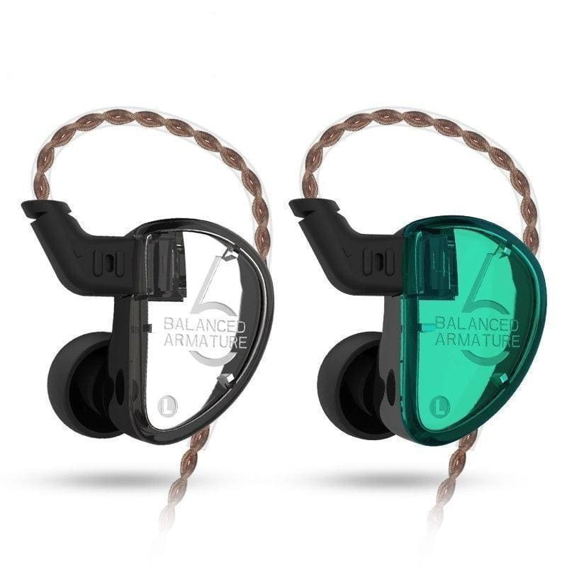 Kz as06 earphones 3ba balanced armature driver hifi bass headphones in ear monitor sport headset noise cancelling earbuds green - on sale