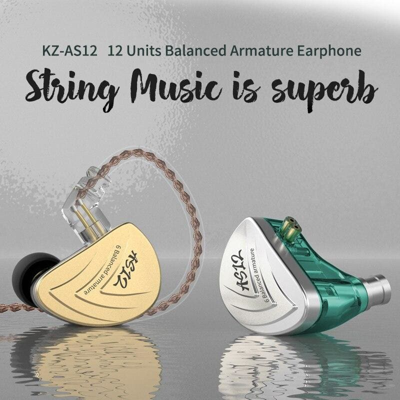 KZ AS12 Earphones 12BA Balanced Armature Drives HIFI Bass In Ear Monitor Headset Noise Cancelling Earbuds Zinc Alloy Headphones