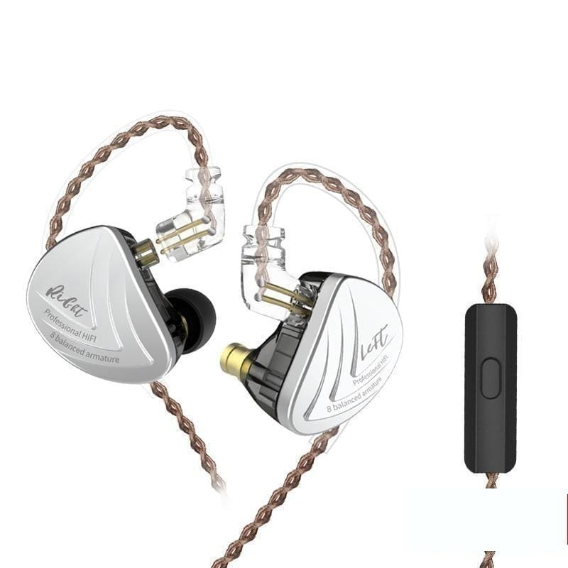 Kz as16 headset 16ba balanced armature units hifi bass in ear monitor earphones noise cancelling earbuds headphones for phone - on sale