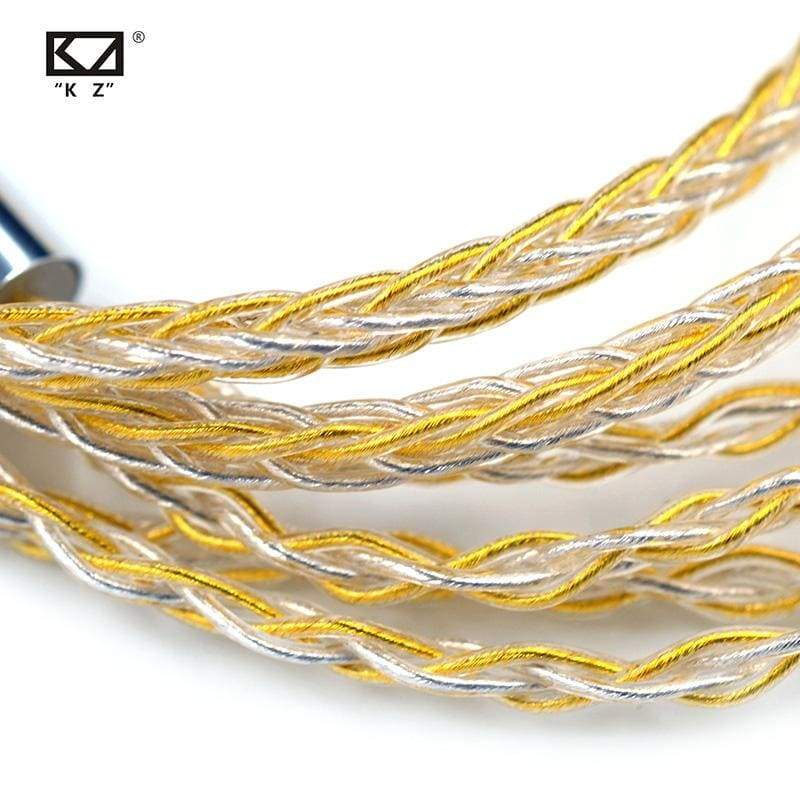 Kz cable 8 strands gold silver mixed plated upgrade cable headphone wire for c10 zst t2 zst zsx zs10 pro zsn es4 - ₹999